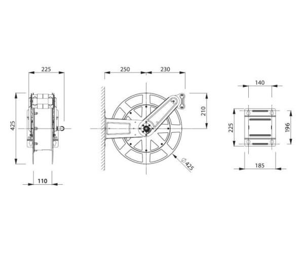Шланговая катушка Шланговая катушка без корпуса 15 м / Ø 10 мм