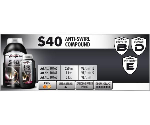 Ультрафінішна полірувальна паста S40 Anti-Swirl Compound 250 g
