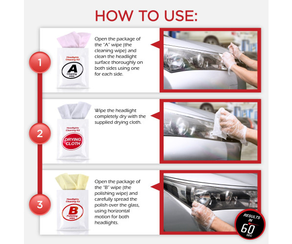 Набір для очищення і відновлення фар Headlight Restoration Wipes Kit H&A Quality