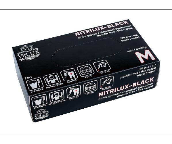 Чорні нітрилові рукавички NITRILUX - M